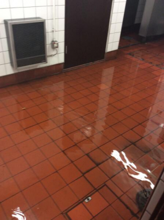 Water at Green Park station this morning