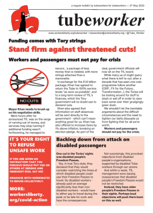 Tubeworker — 27/05/2020: Stand Firm Against Threatened Cuts