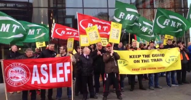 A joint Aslef-RMT protest.