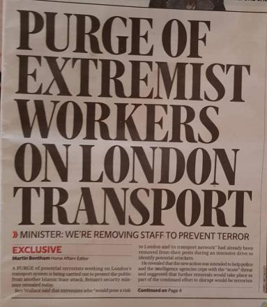 PURGE OF EXTREMIST WORKERS ON LONDON TRANSPORT