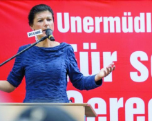 Sahra Wagenknecht addresses a Die Linke rally