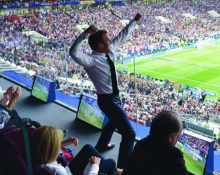 Macron supporting France in the World Cup