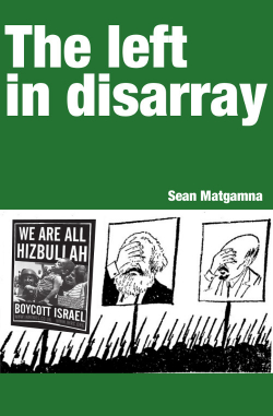 "Book Cover ""The Left in Disarray"" in white text on a green background with an image below depicting Marx and Lenin ""facepalming"" at a sign which reads; ""We are Hezbullah, Boycott Israel"""