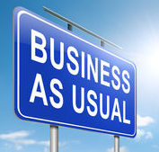 "Graphic of a billboard with text reading ""Business As Usual"""