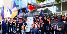 Electrical Trades Union members on strike at OI Glass in Brisbane