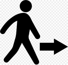 Clipart graphic of a person walking, with an arrow indicating movement
