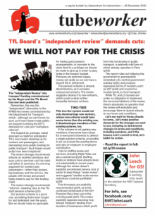 Tubeworker — 29/12/2020: We Will Not Pay For The Crisis