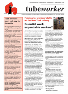 Tubeworker — 26/11/2020: Essential Work, Expendable Workers?
