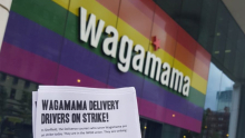 Wagamama sign and strike leaflet