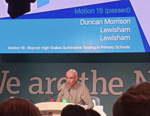 Duncan speaking on the motion calling for the boycott at this year's NEU conference