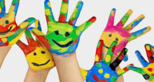 Childcare - children's hands, painted