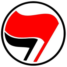 Antifascist symbol, red flag and black flag together