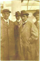 Jenö Landler (left) on his way to Moscow for the Third Congress of the Communist International (Comintern) with György Lukács (right — hands in pockets).