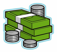 A graphic illustration of a pile of paper notes and stacks of coins, denoting money