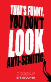 "Book Cover ""That's Funny You Don't Look Antisemitic: An Anti-racist Analysis of Left Antisemitism"" on a red backgroung. In the bottom right corner a small silhouette and shadow of a person."