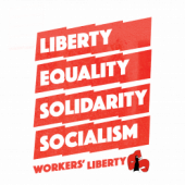 "T-Shirt design ""Liberty, Equality, Solidarity, Socialism"" on waving red flags above Workers' Liberty in Red"