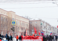 "Photograph shows a Russian Socialist Movement banner on a demonstration; the banner reads ""Russia without Putin, Russia for workers"" in Russian"