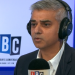 Sadiq Khan in front of the LBC logo