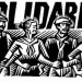 "A graphic displaying workers linking arms in front of the word ""Solidarity"""